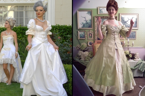The original dress on the left was stained. I dyed it and added appliques on the right.