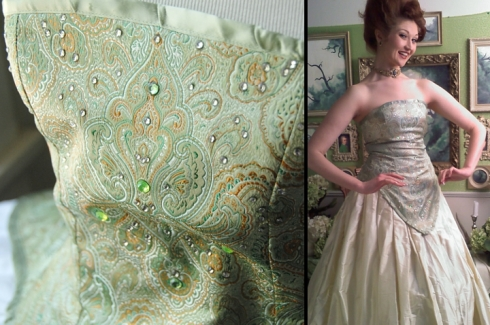 The under-bodice is a brocade with sparkly gems. Close up on the left, full shot on the right.